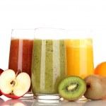 Fresh fruit juices isolated on white — Stock Photo