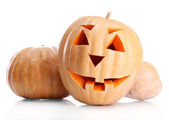 Halloween pumpkins, isolated on white — Stock Photo