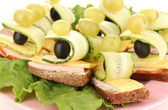 Canapes on plate close up — Stock Photo
