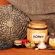 Honey and others natural medicine for winter flue, on wooden background — Stock Photo #17639633