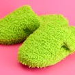 Bright slippers, on pink background — Stock Photo