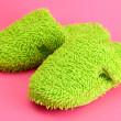 Bright slippers, on pink background - Stock Photo