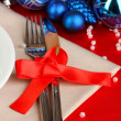 Serving Christmas table close-up - Stockfoto