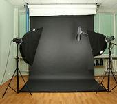 Empty photo studio with lighting equipment — Stok fotoğraf