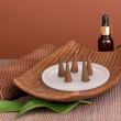 Aromatherapy setting on brown background - Foto de Stock