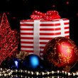 New Year composition of New Year's decor and gifts on Christmas lights background - Stock fotografie