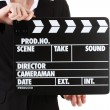 Movie production clapper board isolated on white — Foto de Stock