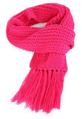 Warm knitted scarf pink isolated on white — Стоковое фото