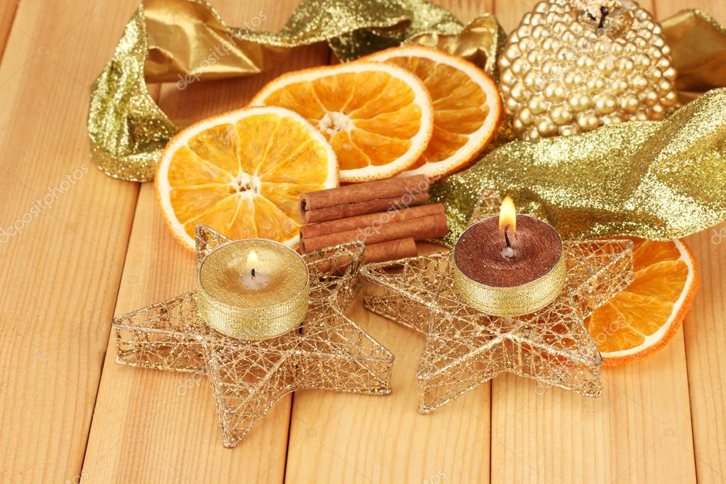 Christmas composition  with candles and decorations on wooden background  Stock Photo #17683363