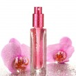 Women's perfume in beautiful bottle and orchid flowers, isolated on white — Stock Photo #17844967