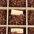 Coffee beans in wooden box close-up — Stock Photo #17846171