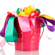 Color bucket with multicolor ribbons and thread isolated on white — Foto Stock