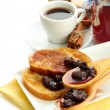 White bread toast with jam and cup of coffee, isolated on white — Stock Photo