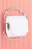 Roll of toilet paper on holder fixed to pinstriped wall — Stock Photo