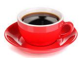 Una roja taza de café fuerte aislado en blanco — Foto de Stock