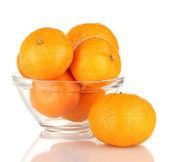 Tasty mandarines in bowl isolated on white — Stock Photo