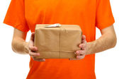 Courier with parcel box, isolated on white — Stock Photo