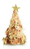 Beautiful christmas tree of dry lemons with decor, isolated on white — Stock Photo