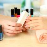 Manicure process in beauty salon, close up — Stock Photo #17873461