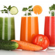 Fresh vegetable juices isolated on white — Stock Photo #17873559