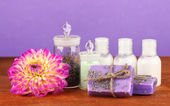 Ingredients for soap making on violet background — Stock Photo