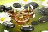 Spa stones with flowers and candles in water on plate — Foto de Stock