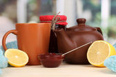 Helpful tea with jam for immunity on wooden table on window background — Stock Photo