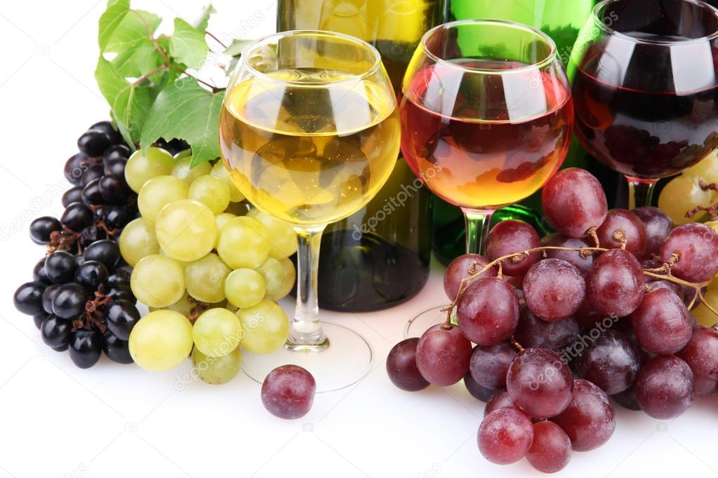 Bottles and glasses of wine and assortment of grapes, isolated on white — Stock Photo #17873541