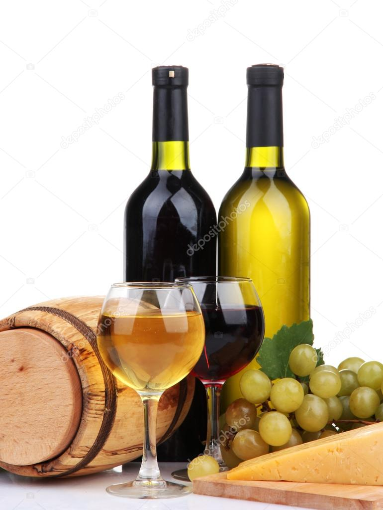 Barrel, bottles and glasses of wine, cheese and grapes, isolated on white — Stock Photo #17873543