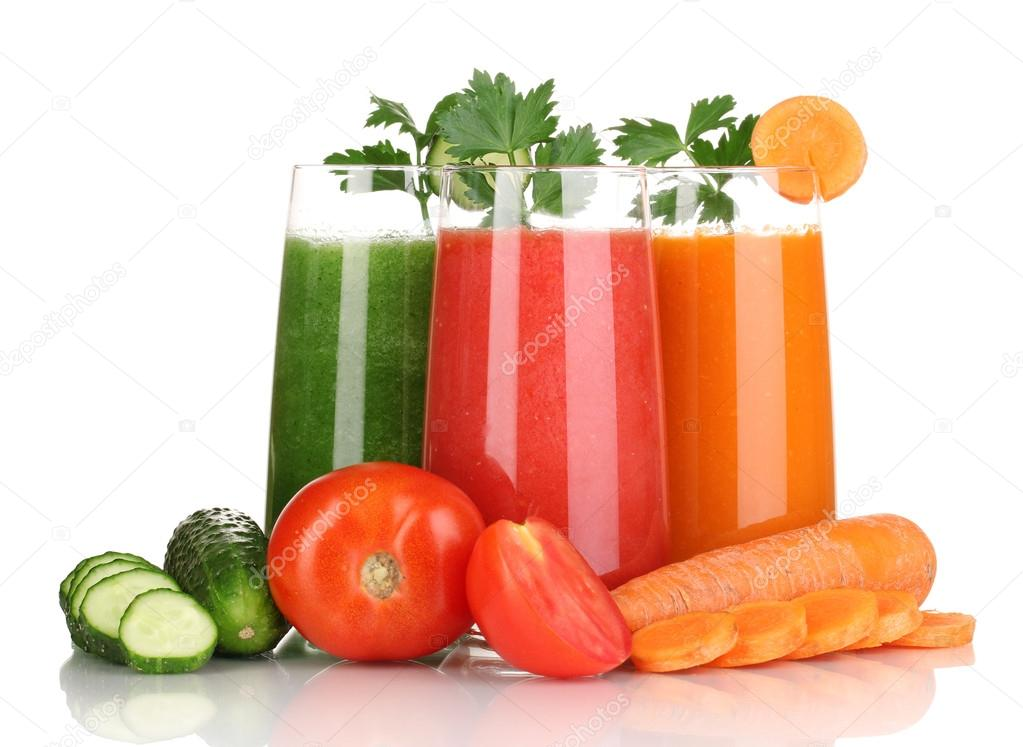 Fresh vegetable juices isolated on white — Stock Photo #17873567