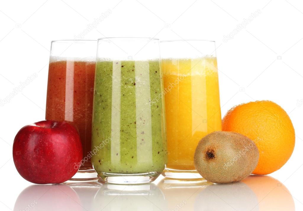 Fresh fruit juices isolated on white — Stock Photo #17873575