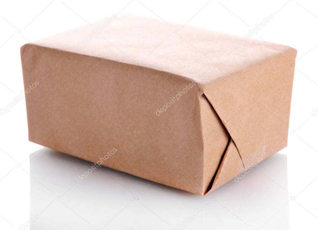 Parcel box with kraft paper, isolated on white — Stock Photo #17873707