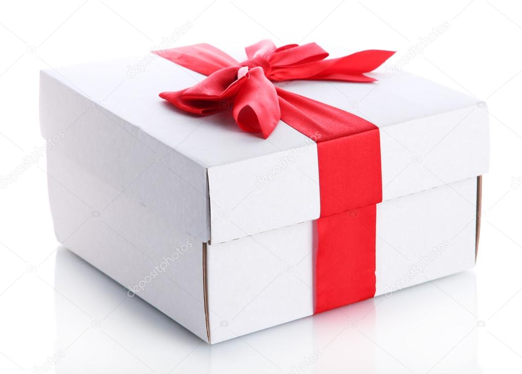 Gift box with red ribbon, isolated on white — Stock Photo #17873709