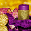 Royalty-Free Stock Photo: Christmas composition  with candles and decorations in purple and gold colors
