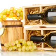 Wooden case with wine bottle, barrel, wineglass and grape isolated on white - Stok fotoğraf