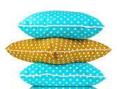 Azules y marrón brillantes almohadas aisladas en blanco — Foto de Stock