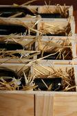 Holzetui mit weinflaschen hautnah — Stockfoto