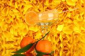Yellow fruit juice ice in vase on decorative yellow background — Stock Photo