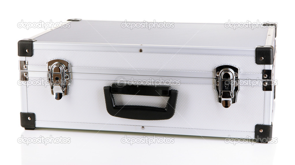 Silvery suitcase isolated on white  Stock Photo #17992071