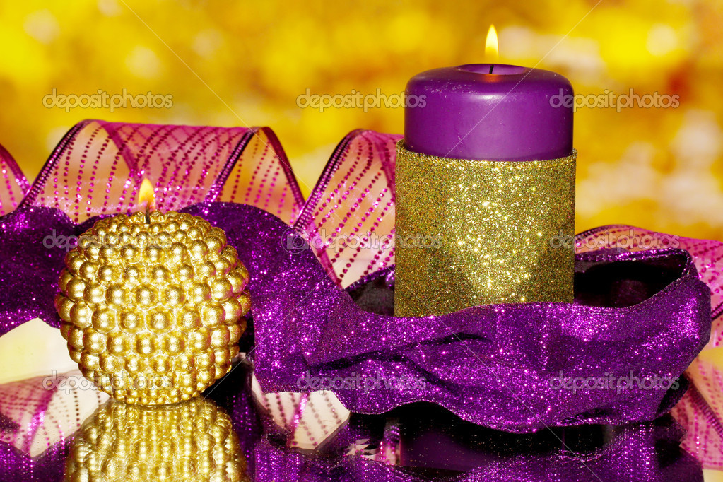 Christmas composition  with candles and decorations in purple and gold colors — Stock Photo #17992107