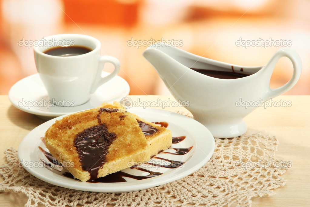White bread toast with chocolate on plate in cafe  Stock Photo #17992147