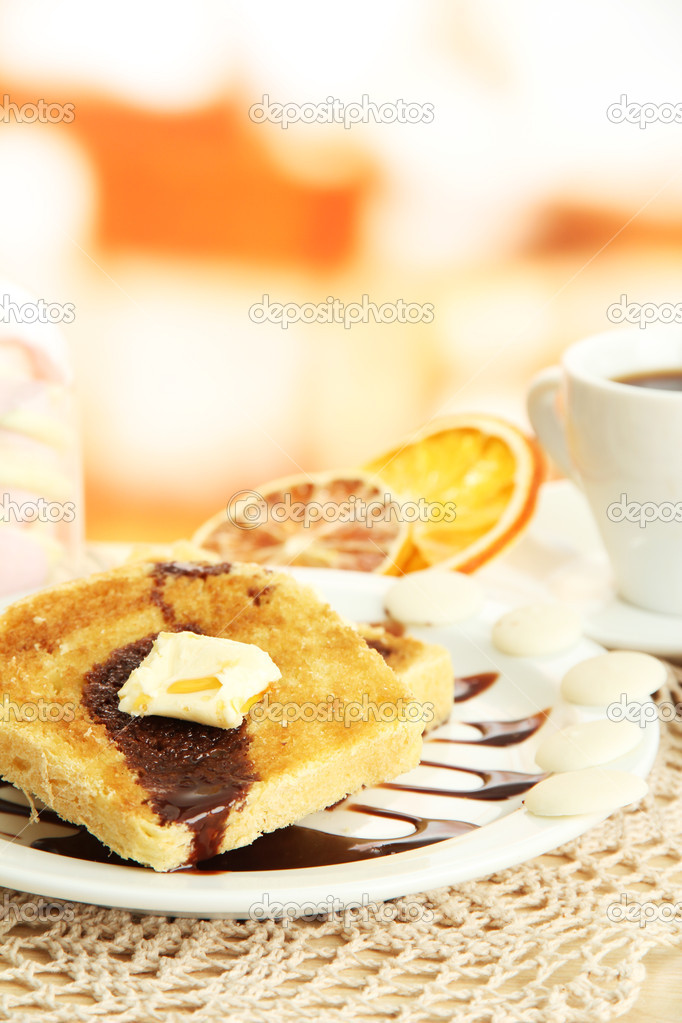 White bread toast with chocolate and cup of coffee in cafe — Stock Photo #17992149