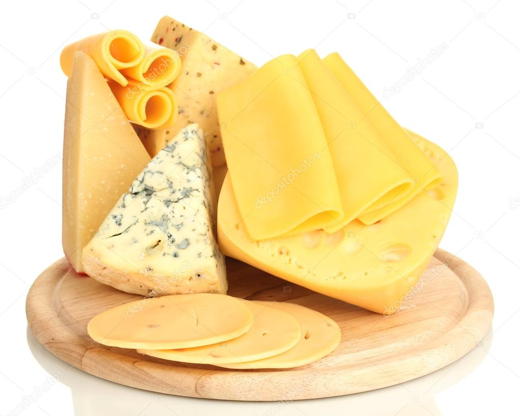 Various types of cheese isolated on white — Stock Photo #17992379