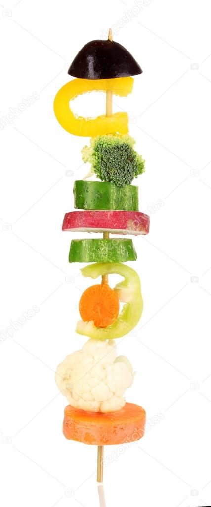 Sliced vegetables on wooden pick isolated on white — Stock Photo #17998121