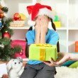 Christmas gift for little girl — Stock Photo