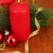 Two candles and christmas decorations, on wooden background — Stock Photo #18038693