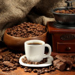 Coffee grinder and cup of coffee on burlap background — Stock fotografie