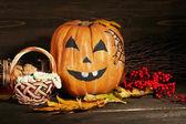 Halloween pumpkin on dark background — Stock Photo
