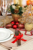 Serving Christmas table close-up — Стоковое фото