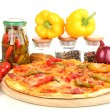 Tasty pepperoni pizza with vegetables on wooden board isolated on white — Stock Photo #18051281